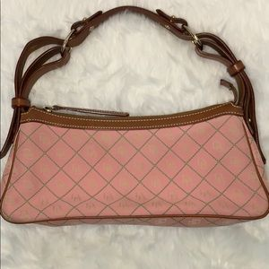 Dooney & Bourke Signature Slouch Purse Pink/Green